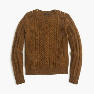 J. Crew | Perfect Cable Sweater Speckled Wool